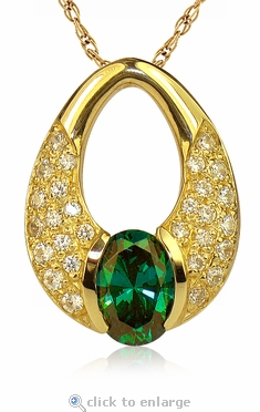 Montara Man Made Emerald Green Oval Pave Set Round Cubic Zirconia Pendant