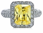 Montgomery 4 Carat Emerald Cut Halo Micro Pave Cubic Zirconia Ring