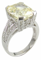 Montibella 7 Carat Elongated Cushion Cut Cubic Zirconia Pave Solitaire Engagement Ring