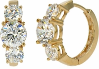 Nantucket Three Stone Anniversary Cubic Zirconia Hoop Earrings
