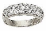 Narrow Pave Set Cubic Zirconia Three Row Band