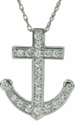 Nautical Boat Anchor Pave Set Round Cubic Zirconia Pendant