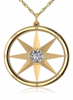 Nautical Compass Rose Bezel Set Round Cubic Zirconia Pendant