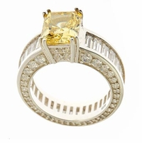 Nexus 4 Carat Emerald Radiant Cut Canary Cubic Zirconia Eternity Baguette Solitaire Engagement Ring