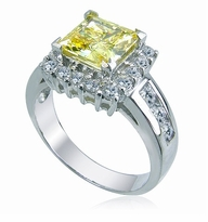 Nina Princess 1.5 Carat Princess Cut Cubic Zirconia Halo Channel Set Round Solitaire Engagement Ring