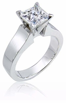 Noveau 1.5 Carat Princess Cut Cubic Zirconia Cathedral Solitaire Engagement Ring