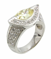 Noveek 1.5 Carat Horizontal Oval Cubic Zirconia Halo Pave Solitaire Ring