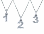 Number Numerical Cubic Zirconia Prong Set Charm Pendant