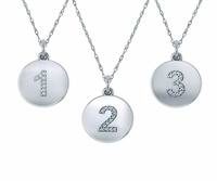 Numeric Number Pave Cubic Zirconia Disc Charm Pendant