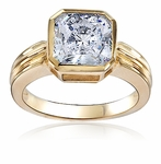 Octamond 2 Carat Octagonal Eight Sided Cubic Zirconia Ribbed Solitaire Engagement Ring