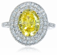 Octet Duo Double Halo 2.5 Carat Oval Cubic Zirconia Pave Solitaire Milgrained Engagement Ring