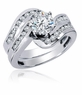 Odyssey 1.5 Carat Round Prong Set Cubic Zirconia Swirled Channel Set Wedding Set