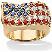 Old Glory American Flag Cubic Zirconia Red White and Blue Ring