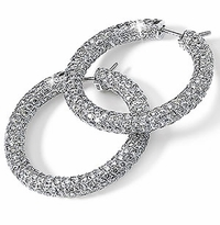 Olympia Pave Set Round Cubic Zirconia Hoop Earrings