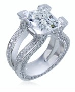 Omega 5.5 Carat Emerald Radiant Cut Cubic Zirconia Pave Set Round Split Shank Solitaire Engagement Ring