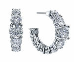 Omni Round 15 Carat Large Graduated Prong Set Cubic Zirconia Hoop Earrings