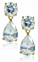 Oprah Style 3 Carat Pear Cubic Zirconia Tear Drop Earrings - Medium