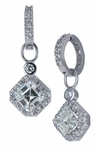 Ossanna 1 Carat Asscher Cut Cubic Zirconia Halo Drop Earrings