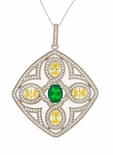 Ovadia 2.5 Carat Man Made Emerald Oval Cubic Zirconia Canary Oval Vintage Pendant