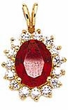 Oval 1.5 Carat Man Made Ruby Cluster Cubic Zirconia Pendant