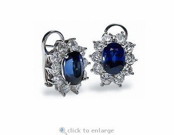 Oval 2.5 Carat Each Lab Created Sapphire Cubic Zirconia Cluster Earrings