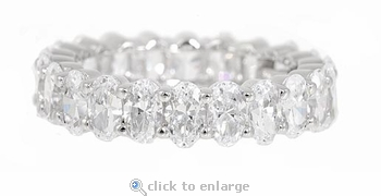 Oval .25 Carat Each Prong Set Cubic Zirconia Eternity Band - Small