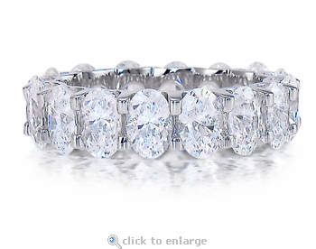 Oval .50 Carat Each Cubic Zirconia Scalloped Shared U Prong Eternity Band
