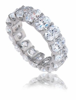 Oval .50 Carat Each Scalloped Shared Prong Scalloped U-shaped Eternity Band 14K White Gold