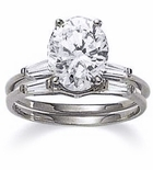 Oval Baguette Solitaire & Matching Band