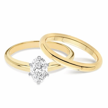 Oval Classic Cubic Zirconia Solitaire Engagement Rings with Matching Wedding Bands