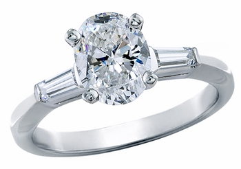 Oval Cubic Zirconia Baguette Solitaire Engagement Rings