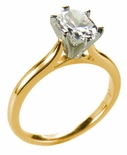 Oval Cubic Zirconia Cathedral Solitaire Engagement Rings