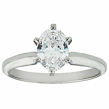 Oval Cubic Zirconia Classic Solitaire Engagement Rings
