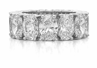 Oval Shared Prong Set Cubic Zirconia Eternity Bands