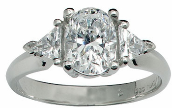 Oval with Trillions Three Stone Cubic Zirconia Engagement Rings