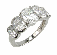 Ovalations 1 Carat Oval Center Cubic Zirconia Graduated Five Stone Semi Bezel Set Ring