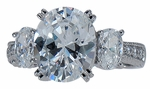 Ovalesque Three Stone 3.5 Carat Oval Cubic Zirconia Estate Antique Style Ring