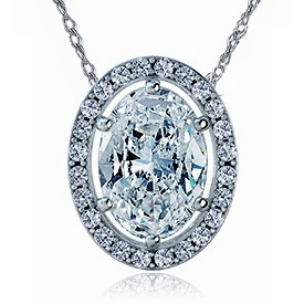 Overture 5.5 Carat Oval Cubic Zirconia Pave Halo Pendant Necklace