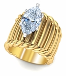 Oxford 3 Carat Marquise Fluted Twisted Rope Cigar Band Solitaire Ring