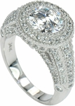 Palazzo 2 Carat Round Cubic Zirconia Halo Pave Encrusted Solitaire Engagement Ring