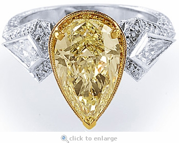 Palermo 3 Carat Canary Pear Cubic Zirconia and Kite Shaped Engagement Ring