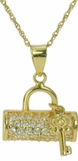 Papillion Purse and Key Pave Set Round Cubic Zirconia Pendant
