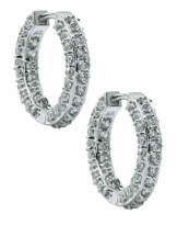 Paris Pave Mid-Size Cubic Zirconia Hoop Earrings