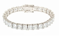 Parisian 1 Carat Each Cubic Zirconia Basket Set Square Princess Cut Bracelet