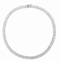 Parisian 1 Carat Each Emerald Cut Cubic Zirconia Tennis Necklace