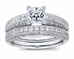 Parissa 1.5 Carat Princess Cut Cubic Zirconia Pave Milgrain Wedding Bridal Set
