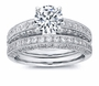Parissa 1.5 Carat Round Cubic Zirconia Pave Milgrain Wedding Bridal Set