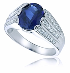 Parkdale 3.5 Carat Oval Cubic Zirconia Three Row Pave Solitaire Ring