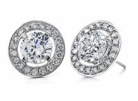 Parliament Round Cubic Zirconia Halo Pave Stud Earrings
