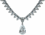 Patisse 5 Carat Pear Cubic Zirconia Drop Statement Necklace